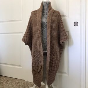 Brown Forever 21 Oversized Shawl Sweater Coat